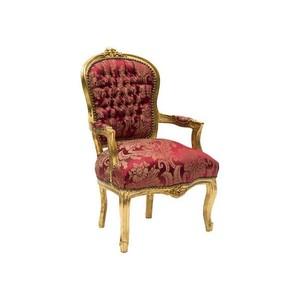 Poltrona barocco Luigi oro e rosso