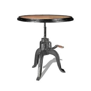 Tavolino rotondo con manovella