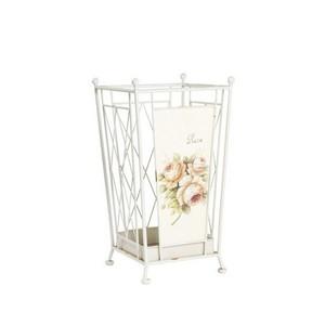 Portaombrelli in ferro bianco con rose ombrello shabby