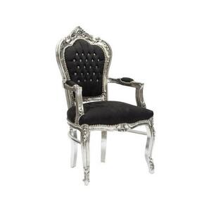 Poltrona barocco argento e nero