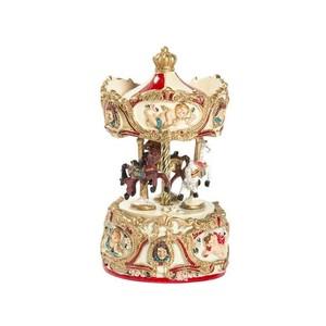 Carillon giostra musicale natalizia rossa e oro