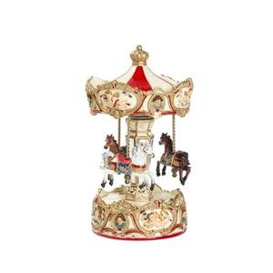 Carillon giostra musicale natalizia rossa e verde