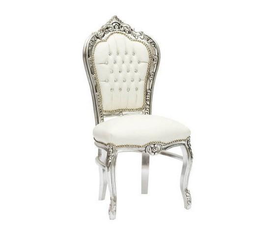 Sedia barocco bianca e argento