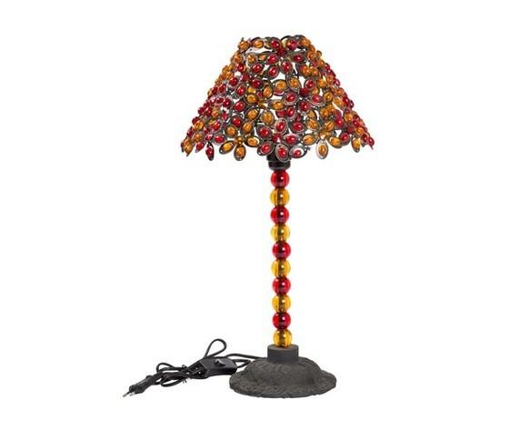 Lampada da tavolo con gemme colorate
