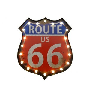 Insegna luminosa 'Route 66 US'