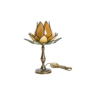 Lampada da tavolo Tiffany fior di loto ambra