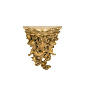 Mensola oro resina barocco vintage angeli
