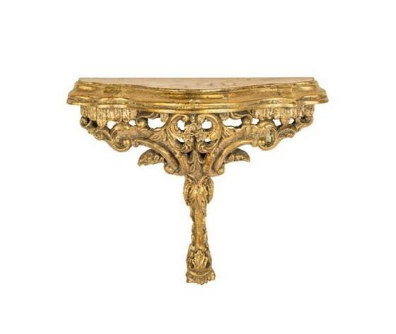 Mensola resina oro barocco foglia fiori