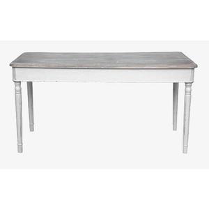 Tavolo bianco e top in legno naturale Shabby Chic