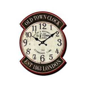 Orologio da parete old town clock bianco e rosso