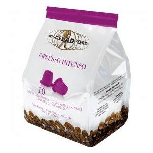 10 capsule caffè Espresso Intenso Miscela d'Oro Compatibili Nespresso