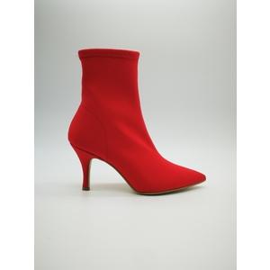 Stivaletto Calza Rosso Elasticizzato Lycra Glamour Tacco 80mm, 100% Made in Italy