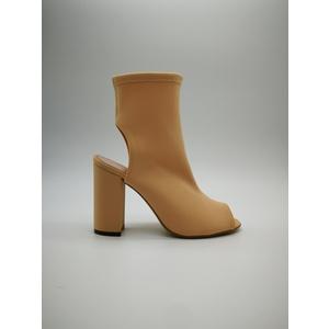 Sandalo Calza Lycra Cipria Elasticizzato Punta Tallone Glamour Tacco Grosso