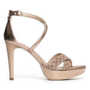 Sandalo Nero Giardini Glamour Donna Laminato Bronzo Dracena Art. P806063DE 434