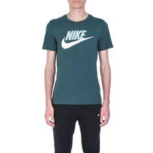 T-Shirt Nike Verde scuro con Logo Bianco Art. 696707 329 YSM