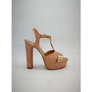 Sandalo Donna Tacco 12 Plateau 3cm Camoscio Cipria/ Laminato Cipria Art. 1309CI