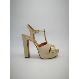 Sandalo Donna Tacco 12 Plateau 3cm Camoscio Beige/Laminato Platino Oro Art. 1309BE