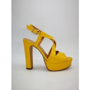 Sandalo Donna Tacco 12 Plateau 3cm Vernice Giallo Art. 240GI