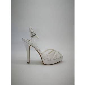 Sandali Gioiello Donna Tacco 12 Plateau 20mm Raso Bianco Art. 0527