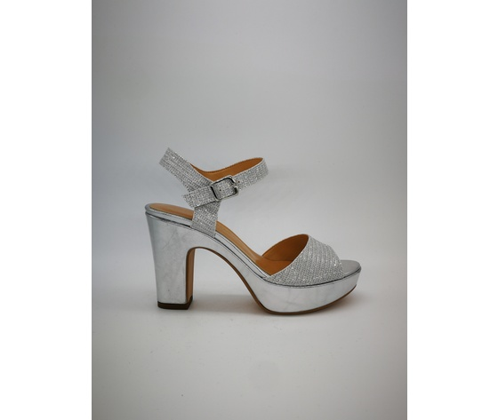 mujer Glitter Heel Sandalias 20mm Indian de Laminado 70 Plateau Plata QCtdsxhr