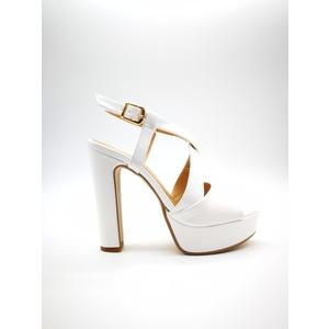 Sandalo Donna Tacco 12 Plateau 3cm Bianco Art. 240BIA