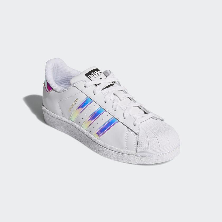 Adidas Superstar J Bianche Scarpe Sneakers Strisce Olografiche Art. AQ6278  - colbaffo de3cc851bef