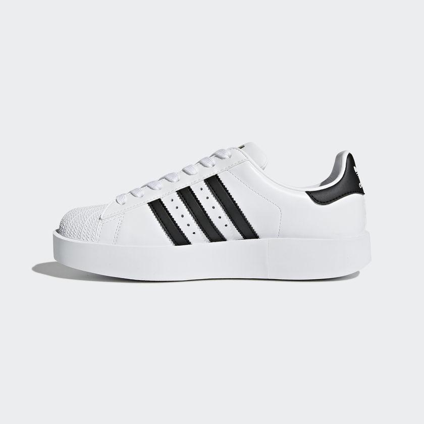 Scarpe Adidas Superstar Bold Platform Zeppa Donna Strisce Nere Sneakers Art.BA7666 - colbaffo