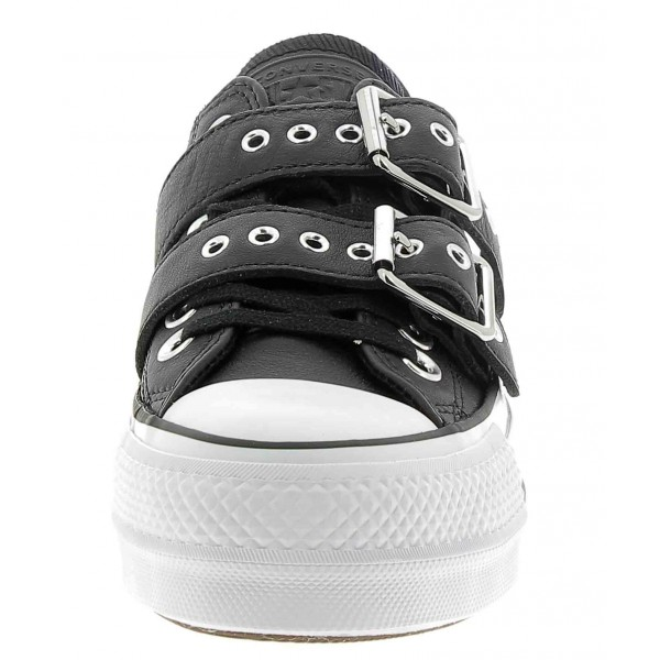 Fibbie Buckle Pelle All Converse Platform Nero Lift Leather Star Con IY1xYpq
