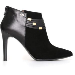 Scarpa donna Glamour Nero Giardini - tronchetto scamosciato donna camoscio/pelle con tacco - nero