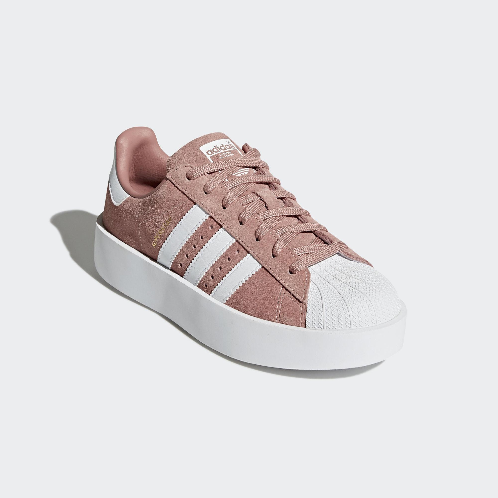 Scarpe Adidas Superstar Bold Platform Zeppa Donna Camoscio Rosa Pink Sneakers Art. CQ2827 - colbaffo