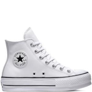 Chuck Taylor All Star Lift Leather High Top Bianco / Bianco Alte Platform Art. 561676C