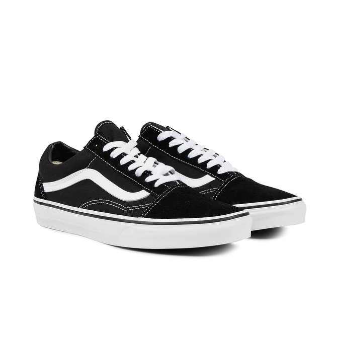 Vans Old Bianca Striscia Unisex Classiche Skool Scarpe Sneakers Nere dq8dv