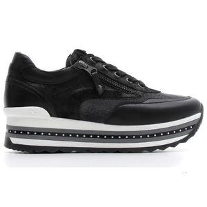 Sneakers NeroGiardini Pelle Laminata Nero inserti in tessuto Art. A806600D 100