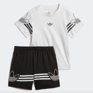 Tuta Adidas Bianco / Nero Completo Outline Tee Shorts Art. DV2833