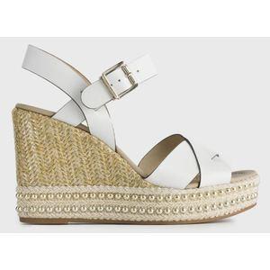 Sandalo NeroGiardini in Pelle Colore Bianco lissata su Zeppa di 10 cm Ricoperta in Corda art. P908341D 707