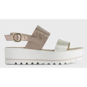 Sandalo NeroGiardini Colore Platino con Fasce in Pelle laminata Fondo Platform di 5,5 cm art. P908323D 415