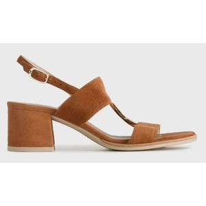 Sandalo NeroGiardini in Camoscio Color Cuoio Tacco di 5,5 cm anello frontale art. P908251D 400