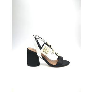 Sandalo 06 Milano Bianco Nero Tacco basso con borchie sottopiede in vera pelle art. SA0637 NE
