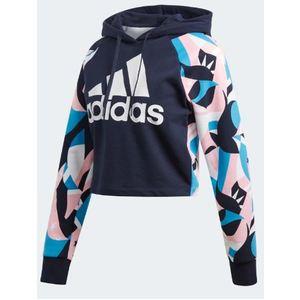 Felpa Adidas con cappuccio taglio corto colore blu art. DU0231