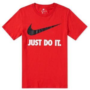 T-Shirt Nike Rossa scritta Just Do It bianca logo nero art. 707360 657