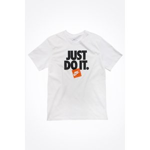 T-Shirt Nike Bianca scritta Just Do It nera logo arancione e bianco art. AR5002 100