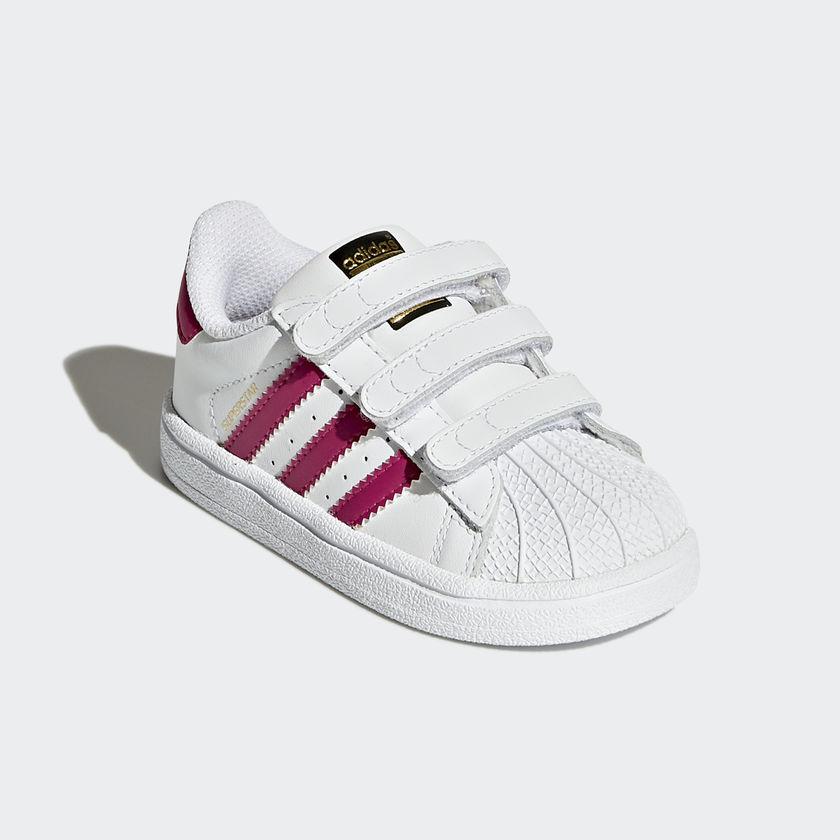 4c21740620 Scarpe Adidas Superstar Bimba Bambina Bianco / Fucsia Strappi Sneakers Art.  BZ0420 - colbaffo