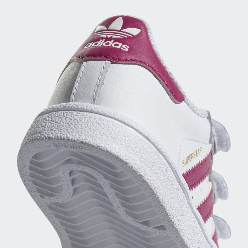 Scarpe Adidas Superstar Bimba Bambina Bianco / Fucsia Strappi Sneakers Art. BZ0420 - colbaffo