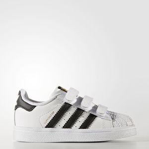 Adidas Superstar CF Bianco Nero Strappi Bimbi Art. BZ0418