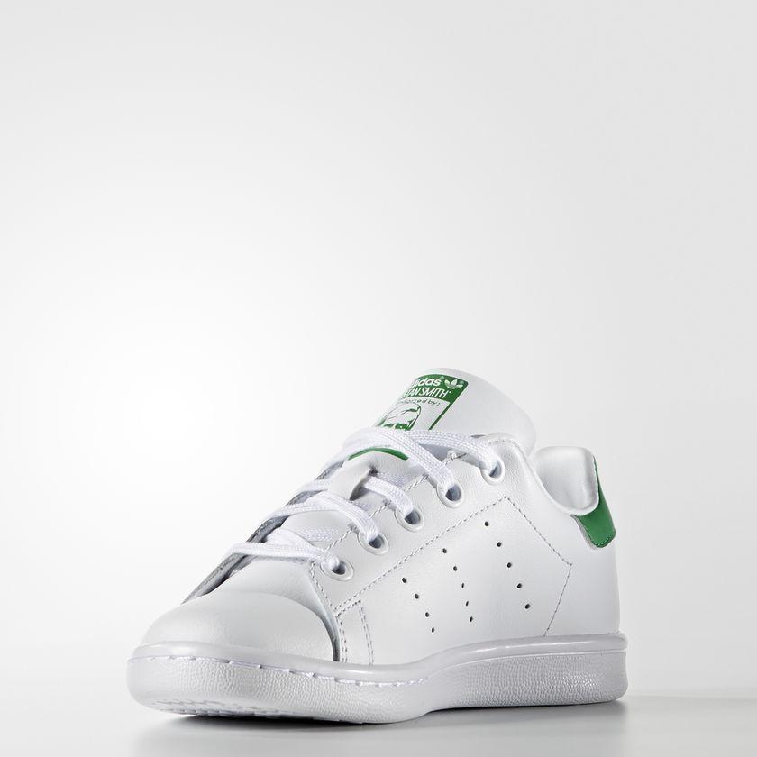 Scarpe Stan Smith Bambino Adidas Bianco Verde Con Lacci Bimbi Sneakers Art. BA8375 - colbaffo