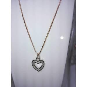 Girocollo argento con cuore bicolore