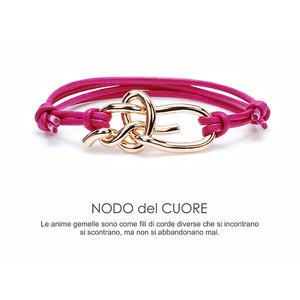 Bracciale NodiAmo nodo del cuore centrale rosa