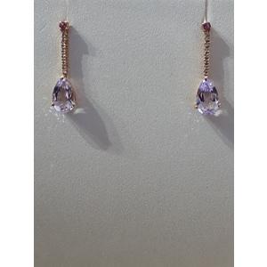 orecchini oro rosa diamanti e ametista
