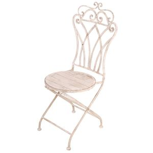 Sedia con seduta rotonda in metallo anticato 47,5x51,5x102 cm