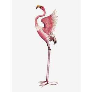 Fenicottero ali aperte rosa in ferro